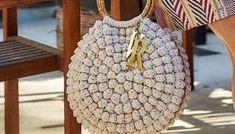 au crochet un sac au point pop corn Cute Crochet, Crotchet, Rope Basket, Popcorn, Straw Bag, Macrame, Diy And Crafts, Crochet Patterns, Sewing