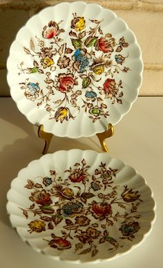 Two Johnson Brothers Staffordshire Bouquet Saucers #JohnsonBrothersStaffordshireBouquet