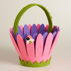 One of my favorite discoveries at WorldMarket.com: Pink Felt Daisy Easter Basket