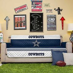 NFL Denver Broncos Sofa Couch Reversible Furniture Protector with Elastic Straps, by Whether you are protecting new furniture or covering Denver Broncos, Pittsburgh Steelers, Cowboy Quilt, Microfiber Sofa, Sofa Protector, Nfl Dallas Cowboys, Couch Furniture, Furniture Design, Couch Covers