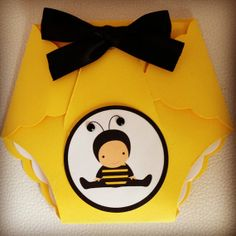 Bee Diaper Invitation for Baby Shower or parties at https://www.etsy.com/shop/everafterfairytales