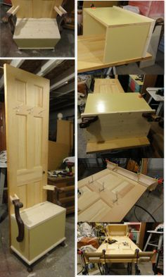 building a Hall Tree-minus the chair rail. Want to see the finished product Furniture Projects, Home Projects, Diy Furniture, Repurposed Items, Repurposed Furniture, Door Hall Trees, Old Windows, Old Doors, House