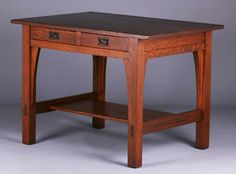 2745. Gustav Stickley two-drawer library table. Signed. Refinished. 42″w x 28.5″d x 30″h $2500