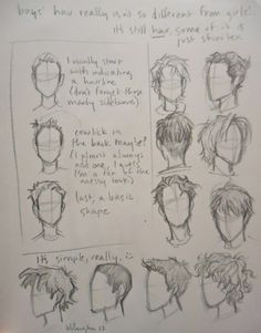 i kept getting asked about how i draw boys' hair. which confused me, cause i didn't really know how to explain it, other than give examples… anyway, this is how i do it, hope it helps!  if you can't read it, you can open the image in a new tab, which gives you a better view. c: