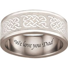 Personalized Keepsake Stainless-Steel Men's Celtic Ring