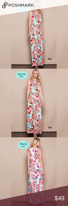 🌺FLASH SALE🌺 🆕 PLUS SIZED FLORAL MAXI Soft and comfy❣ Relaxed fit. Elasticized waist. Side pockets. True to size. 95% rayon. 5% spandex. Made in the 🇺🇸. Dresses Maxi
