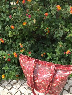 Our William Morris Red Strawberry Thief bag in the flowers William Morris, Algarve, Portugal, Household, Strawberry, Textiles, Throw Pillows, Traditional, Prints