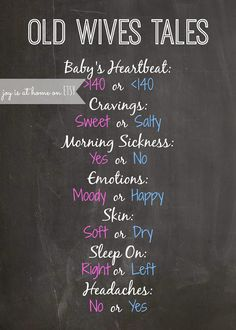 Joy Is At Home: Gender Reveal Party Free Printable: Chalkboard Old Wives Tales - cute to remember for the next baby shower Old Wives Tale, Wives Tales, Baby Shower Gender Reveal, Baby Gender, Baseball Gender Reveal, Gender Party, Old Wife, Shower Bebe, Everything Baby
