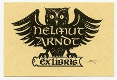 Owl, Ex libris Bookplate by E. Aulitzky, Germany