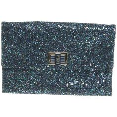 Pre-owned Valorie blue clutch ($150) ❤ liked on Polyvore featuring bags, handbags, clutches, black, preowned handbags, glitter purse, anya hindmarch purse, pre owned handbags and glitter handbag