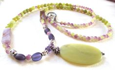 Jade and Amethyst Necklace by guarnaccia on Etsy