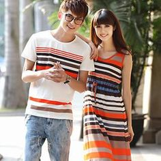 Buy Igsoo Couple Striped T-Shirt / Maxi Dress at YesStyle.com! Quality products at remarkable prices. FREE WORLDWIDE SHIPPING on orders over US$35.