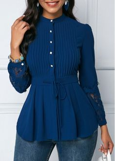 Navy Blue Button Up Long Sleeve Peplum Blouse Crinkle Chest Navy Blue Lace Panel Peplum Blouse Green Lace, Blue Lace, Navy Blue, Blouse Styles, Blouse Designs, Trendy Tops For Women, Stylish Tops, Stylish Girl, Peplum Blouse
