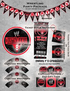 PRINTABLE Wrestling Party Package Includes Ticket Style Invitation And Customized Decorations Digital File 2500 Via Etsy