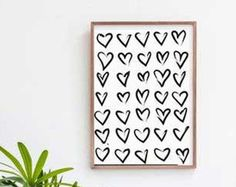 Print with Hearts digital decoration house prints decorate rooms black and white love printable patter hearts idea gift letterpress