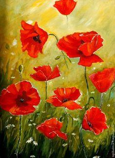 Gelincik Poppy Flower Painting, Poppy Drawing, Oil Painting Flowers, Watercolor Flowers, Flower Art, Poppy Flowers, Poppies Art, Small Paintings, Beautiful Paintings