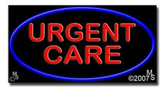 """Urgent Care Neon Sign - 20"""" x 37""""-ANS1500-6458  37"""" Wide x 20"""" Tall x 3"""" Deep  Flashing Border """"ON/OFF"""" switch  Sign is mounted on an unbreakable black or clear Lexan backing  110 volt U.L. listed transformer fits into a standard outlet  Hanging hardware & chain included  6' Power cord with standard transformer  For indoor use only  1 Year Warranty on electrical components  1 Year Warranty on standard transformers."""