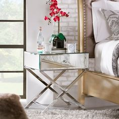Shop for INSPIRE Q Genoa X Base Mirrored Accent Campaign Table. Get free shipping at Overstock.com - Your Online Furniture Outlet Store! Get 5% in rewards with Club O!