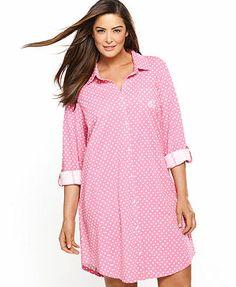07a27dcee87 Lauren Ralph Lauren Plus Size Roll Cuff Sleepshirt Plus Size Pajamas