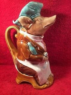 Antique-French-Onnaing-Majolica-Hotel-Waiter-Pig-Pitcher-c1800s-fm1083