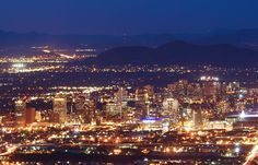 Night view of downtown. See it from a mountain resort, restaurant or the top of South Mtn!