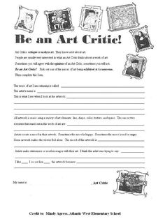 Terrific lesson plans on art criticism with art worksheets High School Art, Middle School Art, Art Rubric, Rubrics, Classe D'art, Art Critique, Art Handouts, Art Criticism, 6th Grade Art