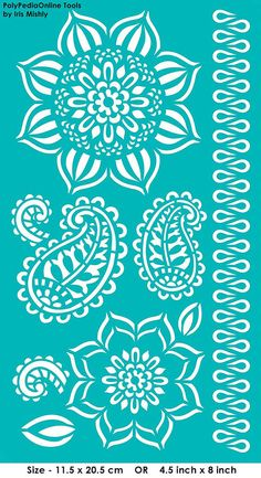 "Stencil Stencils Templates ""Mandala, Paisley, Leaves"", self-adhesive, flexible, for polymer clay, fabric, wood, glass, card making"