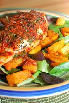 Basil and Red Pepper Topped Chicken with a Roasted Butternut Squash Salad | Slimming Eats - Slimming World Recipes