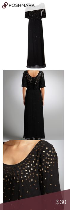Black Stars Column Gown by Alice Temperley (12) Anthropologie brings you the Somerset line by Alice Temperley. This black silk gown with poly lining is light as air and detailed with dozens and dozens of bronze delicately sewn on stars. It is simply stunning. Feminine, flattering, unique, and top of the line quality expected from designers like Alice Temperley. The gown is a size 12 but I say it runs small -- if you are a busty I'd say size 8, otherwise safe 10.  New without tags, never…