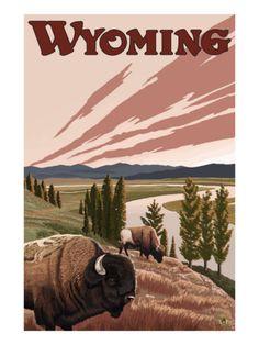 Yellowstone River Bison, Yellowstone National Park, Wyoming Art Print