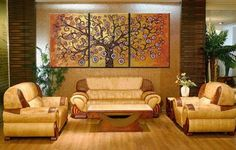 100% Hand Painted Abstract Wall Art Golden Tree Canvas Art Sets Painting for Home Decoration Oil Painting Modern Art Large Canvas Wall Art Free Shipping 3 Piece Canvas Art Unstretch and No Frame by Canvasart, http://www.amazon.com/dp/B009WM9OH2/ref=cm_sw_r_pi_dp_Gv.orb13ZSB1Y