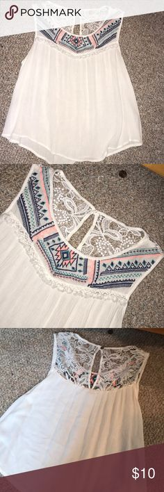 Tribal Print Blouse White with Colorful tribal print accent blouse. Size large worn twice Xhilaration Tops Blouses