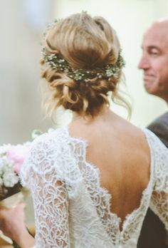 Low Bun with Flower Crown - stunning boho bride