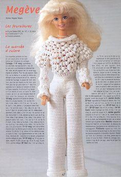 """"""" Mégève"""" Une combinaison au crochet pour Barbie - Expolore the best and the special ideas about Fashion dolls Crochet Barbie Patterns, Crochet Barbie Clothes, Doll Clothes Barbie, Barbie Dress, Doll Clothes Patterns, Crochet Dolls, Habit Barbie, Beautiful Barbie Dolls, Baby Sweaters"""
