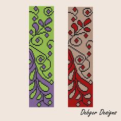 Curly Leaves 2 - Loom Bracelet Cuff Pattern (SAVING buy 2 - 3rd free )
