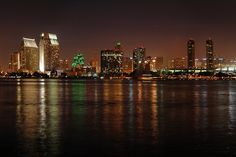 San Diego downtown skyline from across the bay at the Old Ferry Landing on Coronado.