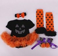 Wish | 4 Pcs Halloween witch pumpkin baby party costume tutu romper fancy dress Set