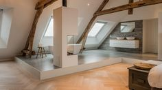 Here's an example of a barn conversion done right. It's easy for old farmhouses to look cold and not very homely, but architects Joep van Os Architectenbureau Modern Barn, Modern Farmhouse, Industrial Farmhouse, Modern Family, Modern Rustic, Renovation D, Old Brick Wall, Converted Barn, Roof Window