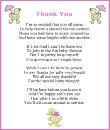 Thank You Poem From Baby Girl Baby Shower Ideas Baby Shower