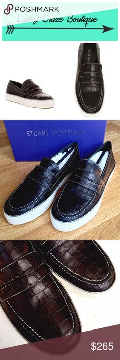 STUART WEITZMAN Lounge Slip-On Sneaker Soft black croc embossed leather upper with white rubber sole, round toe, slip-on style, approx. 1in flat form, vamp strap, true to size! Stuart Weitzman Shoes Sneakers
