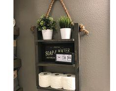 Bathoom Storage Shelf - Ladder Shelf- Wood and Rope Shelf - Farmhouse Decor - Cabin Furniture Decor - 3 Tier Medicine Cabinet