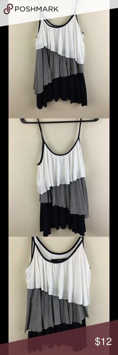 "Stripedtiered tank top in navy and white Relaxed navy and white striped tank top, tiered layers, very stretchy, chest measures 16"" across, length is 25.5"" Forever 21 Tops Tank Tops"