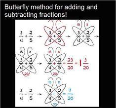 7 Math Hacks That Will Change Your Lives! Butterfly method for adding and subtracting fractionsButterfly method for fractions - keeping for later this year to help Hobbit.Butterfly method for adding or subtracting fractions. This may belong on a cook Math Tutor, Math Skills, Teaching Math, Math Lessons, Math Tips, Math For Kids, Fun Math, Math Games, Math Math