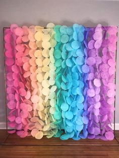 Tissue Paper Flowers Discover The Original Paper Circle Garland: Pastel Rainbow Unicorn Party, Unicorn Birthday, Ciel Pastel, Circle Garland, Rainbow Paper, Backdrop Stand, Pastel Colors, Paper Flowers, Party Time