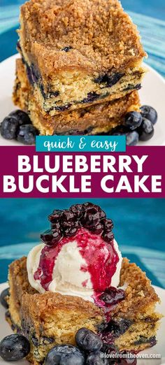 Easy Blueberry Buckle Recipe. This quick blueberry coffee cake with a crumb topping is always a crowd pleaser and such a great way to use those ripe summer berries! #blueberry #blueberrybuckle #blueberrycake #lftorecipes #coffeecake #crumbcake
