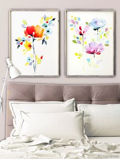 The Vivid Duo right watercolor flowers print set by LesiaBinkinArt