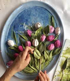 Just in time for Easter! What would Easter be without tulips? I enjoyed making these brightly colored blooms and background. Plaster Sculpture, Plaster Art, Sculpture Painting, Painting Frames, Diy Painting, Clay Wall Art, Clay Art Projects, Modern Art Paintings, Paperclay