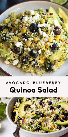 Gorgeous avocado blueberry quinoa salad loaded with fresh corn red onion tangy feta chopped pistachios and tossed in a flavorful cilantro lime dressing. This delicious vegetarian quinoa salad is perfect for summer lunches parties and picnics. Healthy Salad Recipes, Veggie Recipes, Lunch Recipes, Whole Food Recipes, Diet Recipes, Healthy Snacks, Chicken Recipes, Healthy Eating, Cooking Recipes