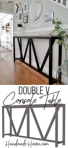 """This Console table is giving farmhouse a whole new meaning."" Check out the free plans for this farmhouse console table. A quick and easy project for the home entryway. Console table never looked so good. Home Projects, Interior, Diy Furniture, Farmhouse Console Table, Woodworking Projects Diy, Rustic Furniture, Interior Design Rustic, Home Diy, Woodworking Furniture"