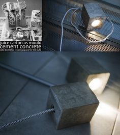 DIY concrete lamp. Juice box for mold, coke bottle to provide space for light and cables on the inside. Check more at http://blog.blackboxs.ru/category/cooking/ #ConcreteLamp